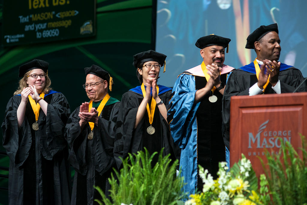 Recipients of the President's Award for Faculty Excellence medal at Geoge Mason University's 2017 commencement