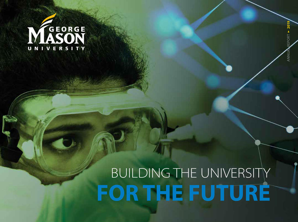 Cover of the 2019 Presidents report. Artistic design of student looking through goggles in a chem lab. Text: Building the University FOR THE FUTURE.